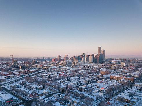 winter morning city view in Edmonton Alb