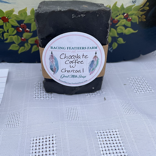 Goat milk soap- chocolate coffee with activated charcoal