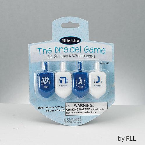 Set of 4 Blue & White Dreidels