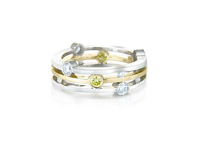 YELLOW AND WHITE DIAMOND STATEMENT RING