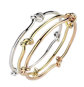 9ct gold love knott bangles in rose, yellow and white gold. Love is eternal, friendship forever. Beuatiful worn on individualy or together as a trio.