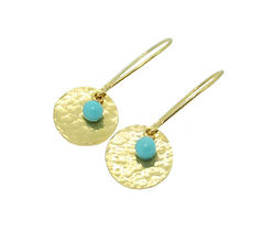 TURQUISE BEAD AND GOLD DISC EARRING