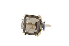 SMOKY QUARTZ AND CRYSTAL GOLD COCTAIL RING