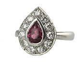 ruby and diamonds coctail ring. platinum. vintage