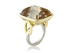 YELLOW CITRINE AND MIXED GOLD RUBOVER RING