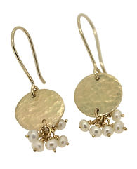 18CT YELLOW GOLD AND PEARL CLUSTER DROP EARRINGS