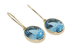 TOPAZ AND 18CT YELLOW GOLD EARRINGS TO MATCH DEEP BLUE EARRINGS