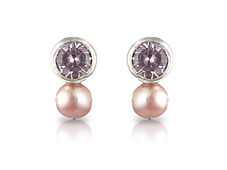TORMALINE AND PEARL EAR STUDS