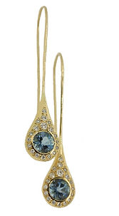 18CT YELLOW GOLD AND DIAMOND WATER DROP EARRINGS. BISPOKE