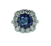 cushion cut  sapphire and diamond coctail engagment ring. Beautiful, stunning, bold statment piece.