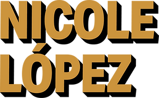 Bolded golden colored text that says Nicole López.