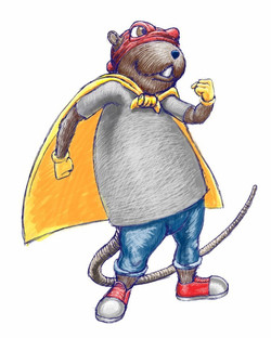 Mighty Muskrat Character Drawing