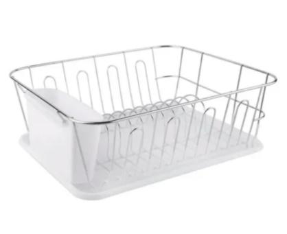 Escurridor de platos acero cromado bandeja y cubiertero blanco Hudson art SP01