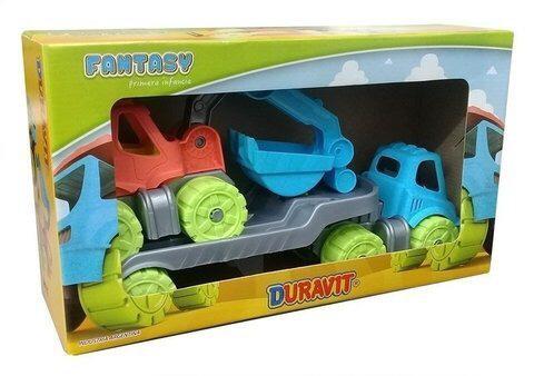 Camion remolque c/excavadora retro en caja 37x21cm Duravit art 683