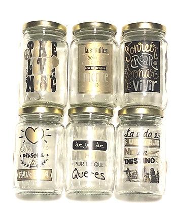 Frasco  de vidrio amanecer 330ml con tapa de chapa y stickers frases Rigolleau