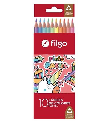 Lápices largo color premier pastel x 10 Filgo