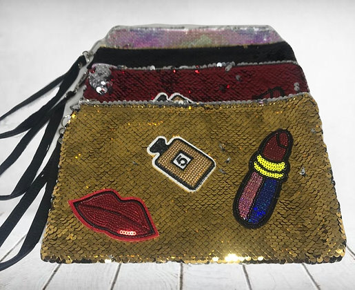 Porta cosmetico monedero lentejuelas c/aplique 25x17cm TR