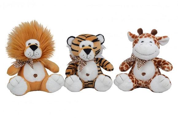 Peluche leon,Tigre o jirafa con sonido 22cm Woody Toys art 11715