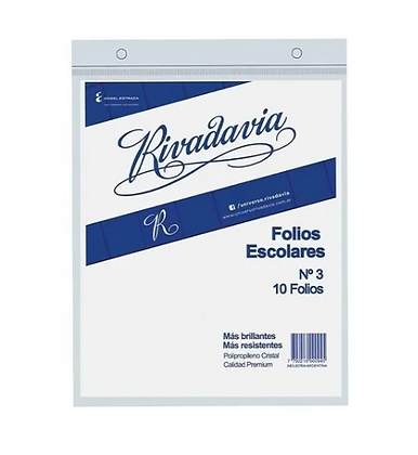 Folios escolares N*3 Rivadavia x 10 unidades