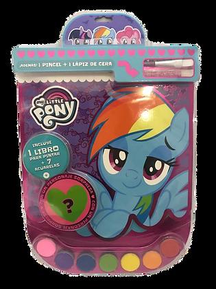 Libro p/pintar + pincel + acuarelas Pony vertice art 4236