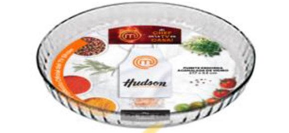 Fuente redonda de vidrio acanalada 27.7x3.5cm Master chef Hudson