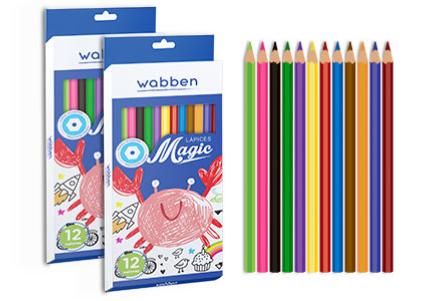 Lapices de colores largos x 12 Wabben art 9048