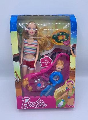 Muñeca tipo Barbie con pileta TR