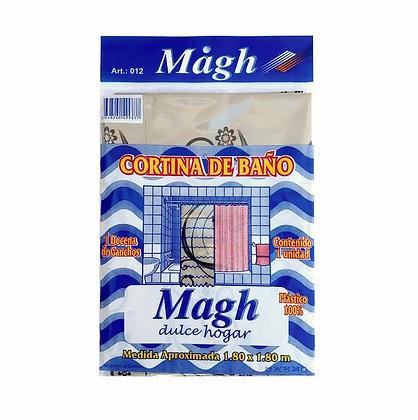 Cortina simple de baño c/ganchos polietileno Magh art 012