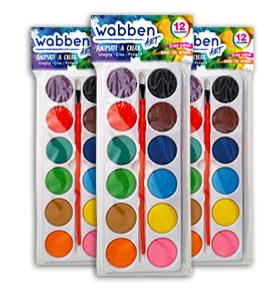 Acuarelas x 12 con pincel Wabben art 9110