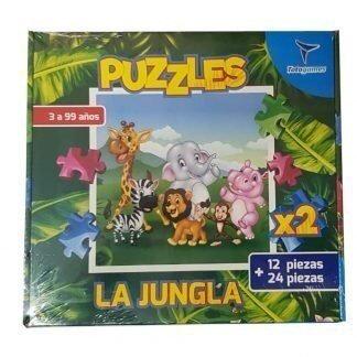 2 rompecabezas la jungla uno por 12 y otro por 24 piezas Totogames art jm2333