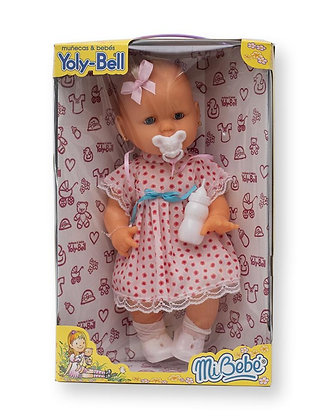 Bebe mediano 38cm c/mechon ojos movibles Yoly-Bell art 1285