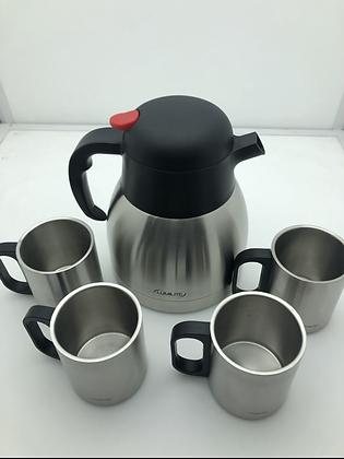 Jarra térmica acero inox 750cc Lumilite c/4 vasos de acero