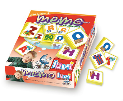 Juego de memoria abecedario 60 fichas plasticas Luna Plast art 9104