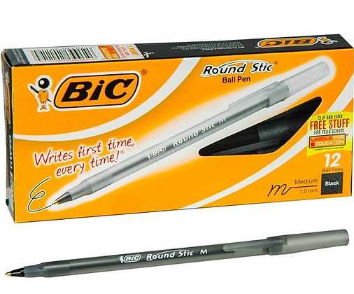 Boligrafo Bic Round Stic medium 1mm negra