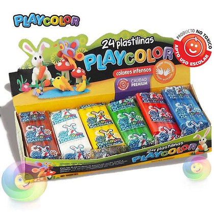 Plastilina Playcolor x 24 pancitos 6 colores
