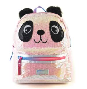 """Mochila Kooshi Lentejuelas Panda espalda 16"""" original Wabro art 91328"""