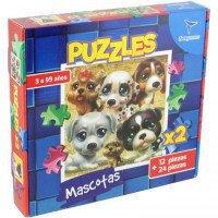 2 rompecabezas Mascotas uno por 12 y otro por 24 piezas Totogames art jm2335