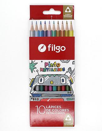 Lápices largo color premier metalizado x 10 Filgo