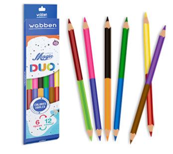 Lapices de colores largos dobles x 6 Wabben art 9148