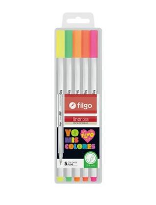 Pack microfibras x 5 colores Fluo  Filgo 038mm