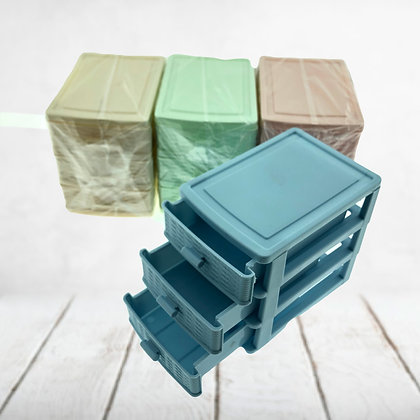 Organizador chiquito 12x12x9cm 3 cajoncitos pastel Tutto