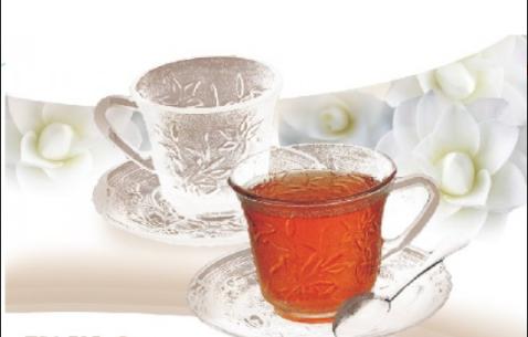 Set de 6 tazas c/plato de vidrio Turkia 230ml CamilleSoifer