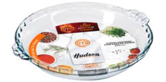 Fuente redonda con asas de vidrio 28.7cm Master  chef Hudson