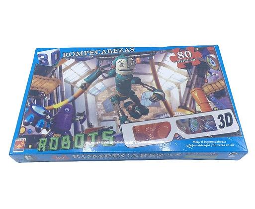 Rompecabezas Robots 3D 80 piezas Magika