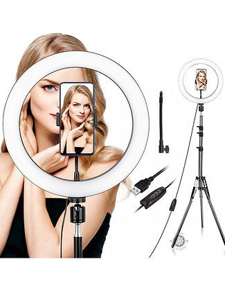 Aro de luz led selfie 32cm + trípode 2,1mt
