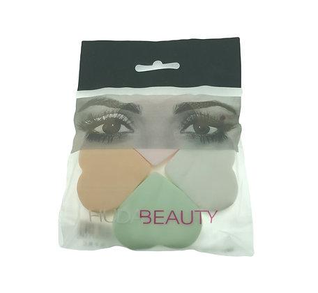 Set de 4 esponjitas corazon maquillaje Huda