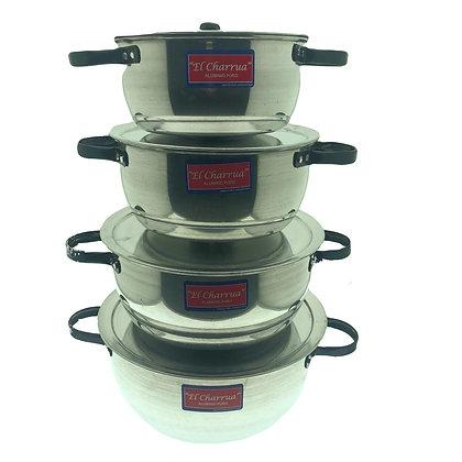 Set de 4 cacerolas de aluminio N*20,22,24,26cm El Charrua