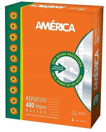 Repuesto escolar N*3 x 480 hojas cuadriculadas c/banda America