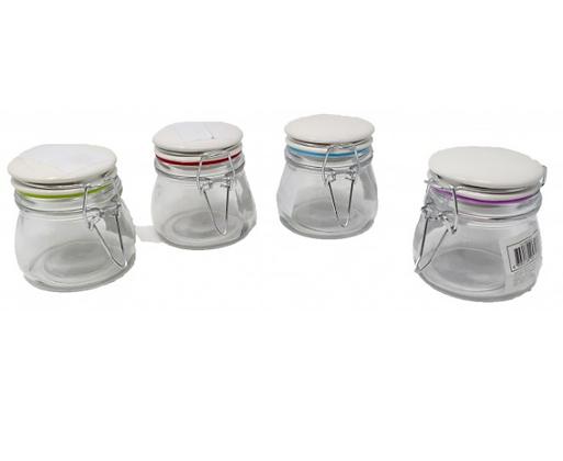 Frasquito de vidrio con tapa hermetica de ceramica 150cc Soifer