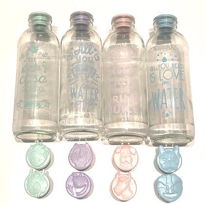 Botella de vidrio 1/2 litro + tapon Animalitos + stickers frases pastel